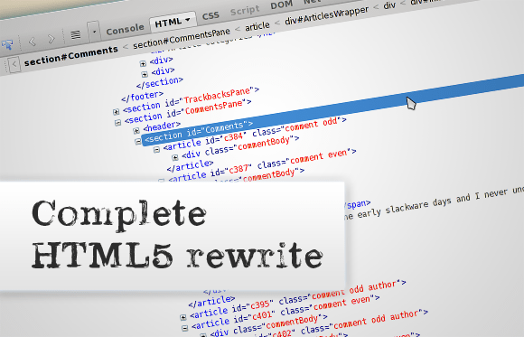 The HTML code now consists of semantic HTML5 elements instead of a large div soup.